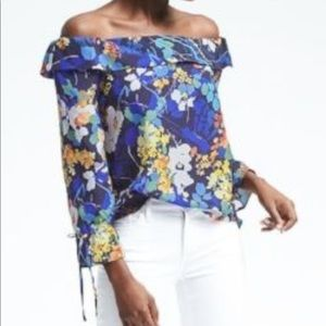 Banana Republic Floral Off the Shoulder Blouse—XS